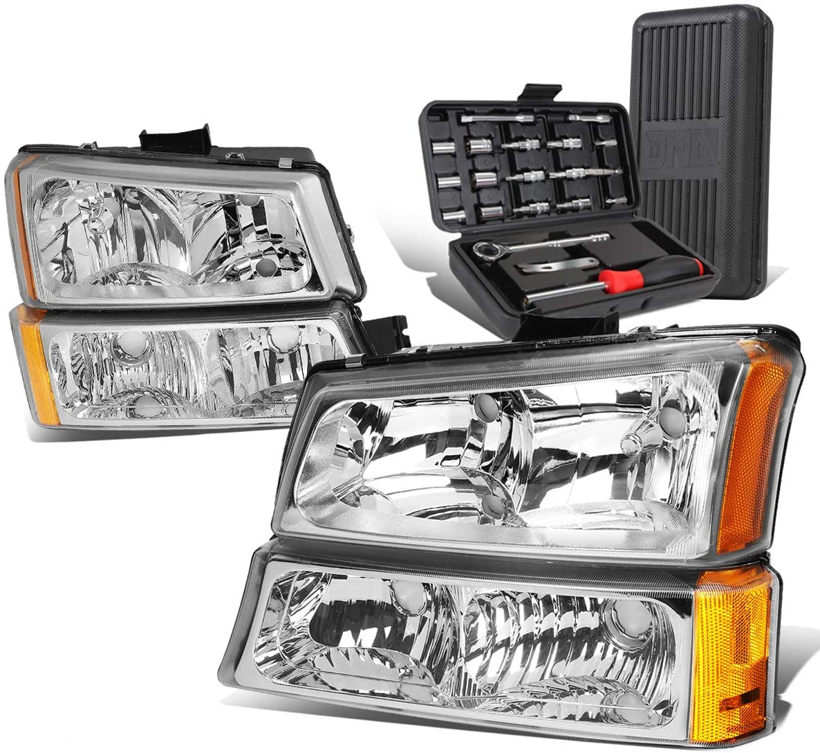 Chrome Amber Side Headlight+Bumper Lamps+Tool Kit Replacement for Chevy Avalanche Silverado 03-07 w/o Factory Cladding