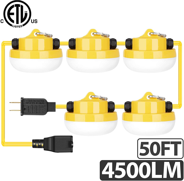 Freelicht 40W 4500LM 50FT LED Construction String Light, Ultra Bright Linkable Job Site Lighting, Non-Breakable Weatherproof Industrial Grade, ETL Certified