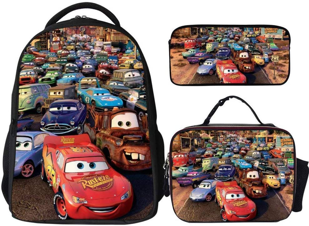 Backpacks 3Pcs Set,Cars Lightning McQueen Sally Mater (1),Backpack with Lunch Bag and Pencil Case Kids 3 in 1 Bookbags Set Cute School Bag for Teen Girls Boys Water Resistant