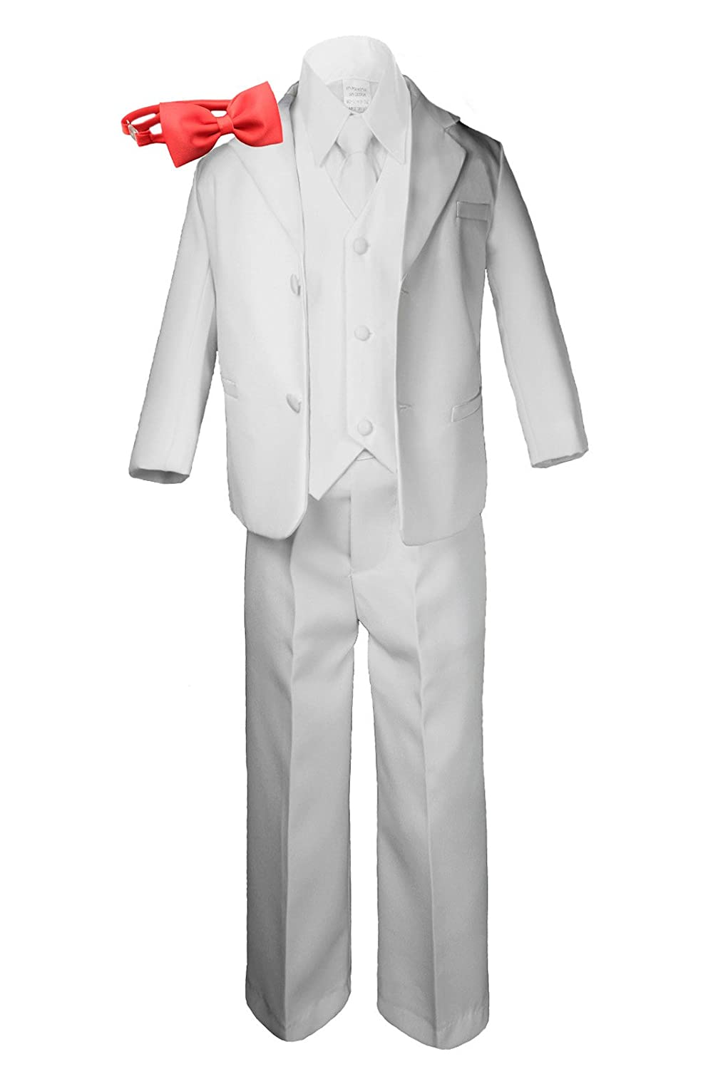 Formal Boy White Suit Notch Lapel Tuxedo Kid Baby Free Red Bow Tie (5)