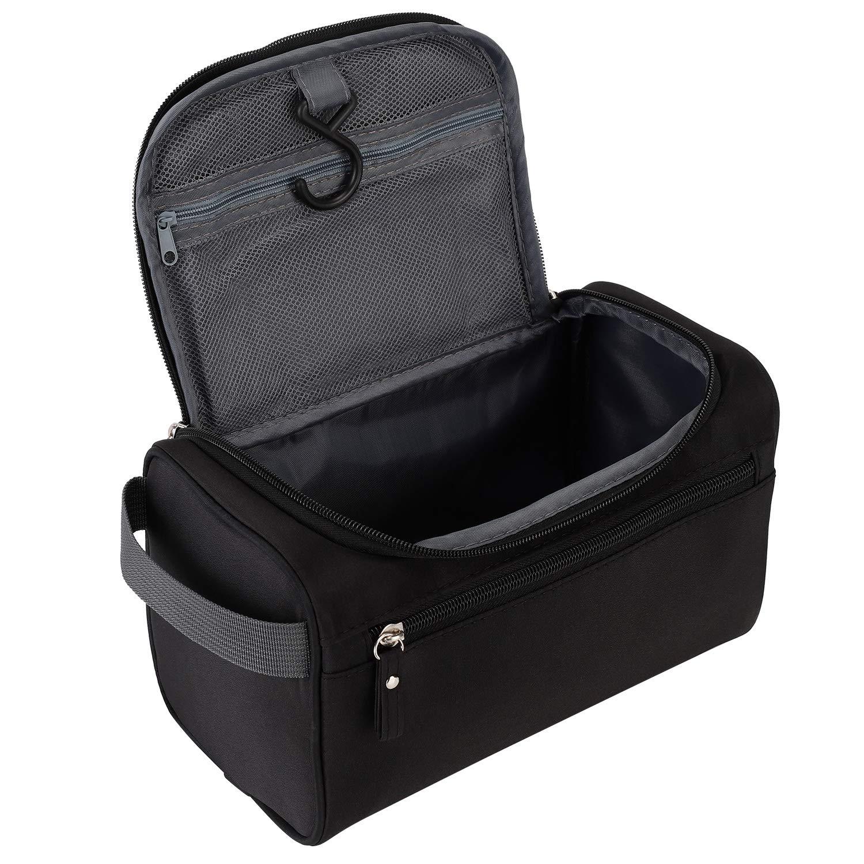 Jaksea Travel Toiletry Organizer Wash Bag Hanging Dopp Kit for Bathroom Shower (Black)