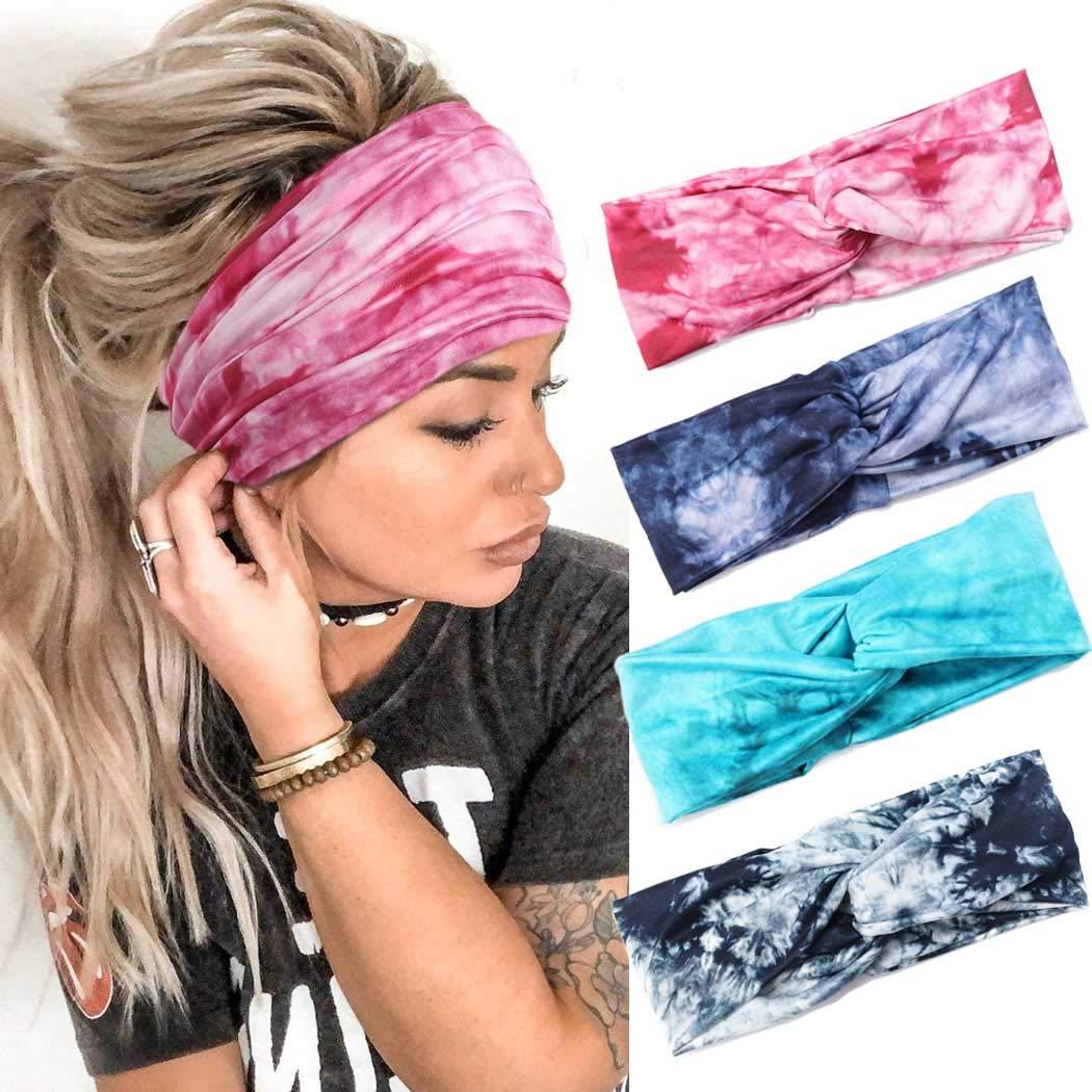 Gortin Boho Workout Headbands Sport Yoga cross Elastic Hair Bands Sweat Turban Wide Head Wraps for Women and men 4Pcs