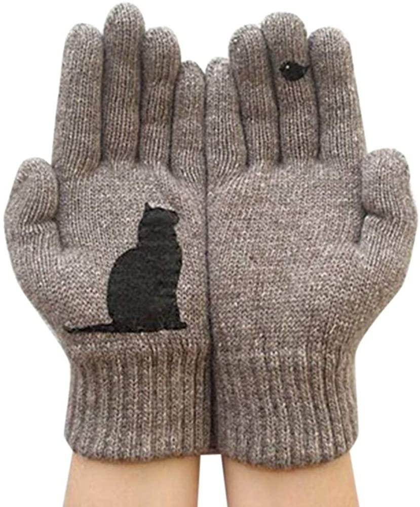 Anpay Womens Warm Knitted Gloves Female Winter Gloves Cute Animal Print Mitten
