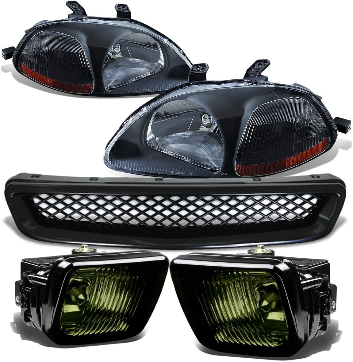 Replacement for Honda Civic Headlight (Black)+Bumper Fog Light (Smoke Lens)+Grille - 6th Generation EJ EM EK D16