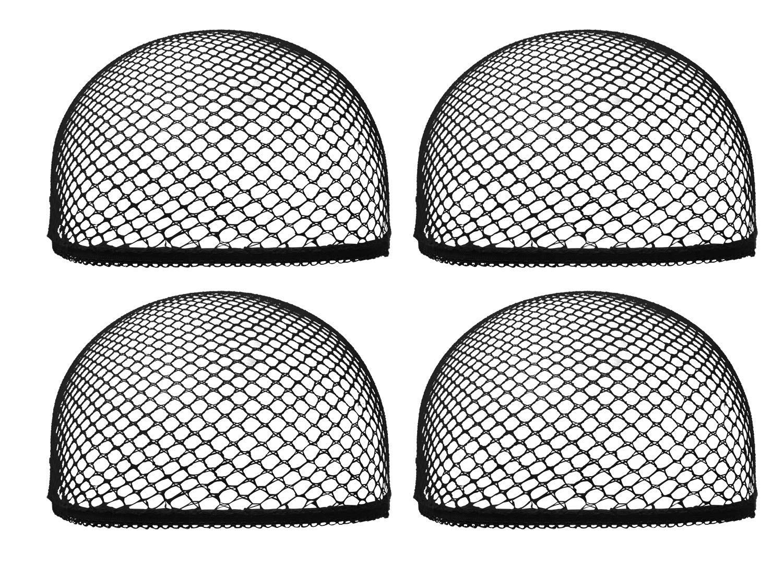 Mini Skater 4 Pcs Mesh Net Wig Cap Adjustable Dome Reusable Breathable Black Lightweight Stretchy Open End Hair Net for Wig Women Girls Long Short Hair (Black)