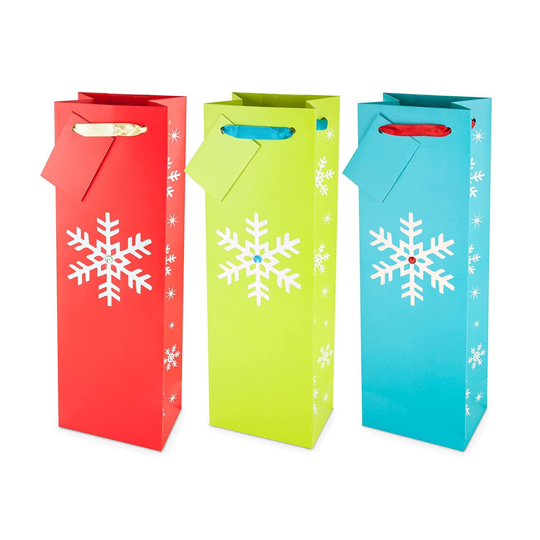 CakeWalk 233 Assorted Sparkling Snowflake Wine Bag (Pack of 10)