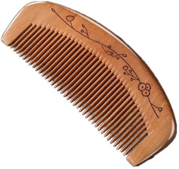 YAXY Peach Wood Comb, Handmade Natural Carving Anti Static Hair Styling Tool, for Hair Health and Festival Gift Wood Hand-Made Carved Design, Comfortable Handle, Anti-Static (Color : B)
