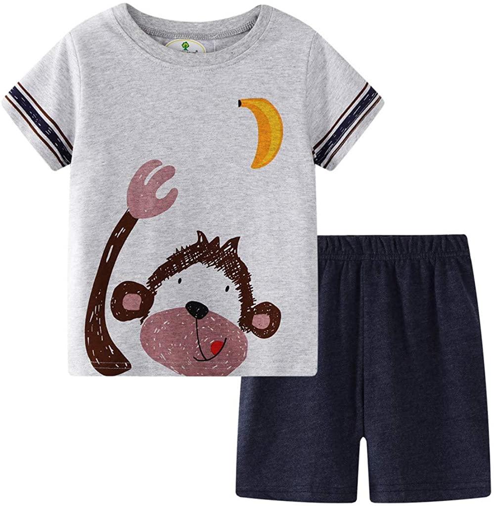 LENXH Two-Piece Suit Cartoon Children's Wear Children's Short-Sleeved Shirt Cat Print T-Shirt + Shorts Home Service