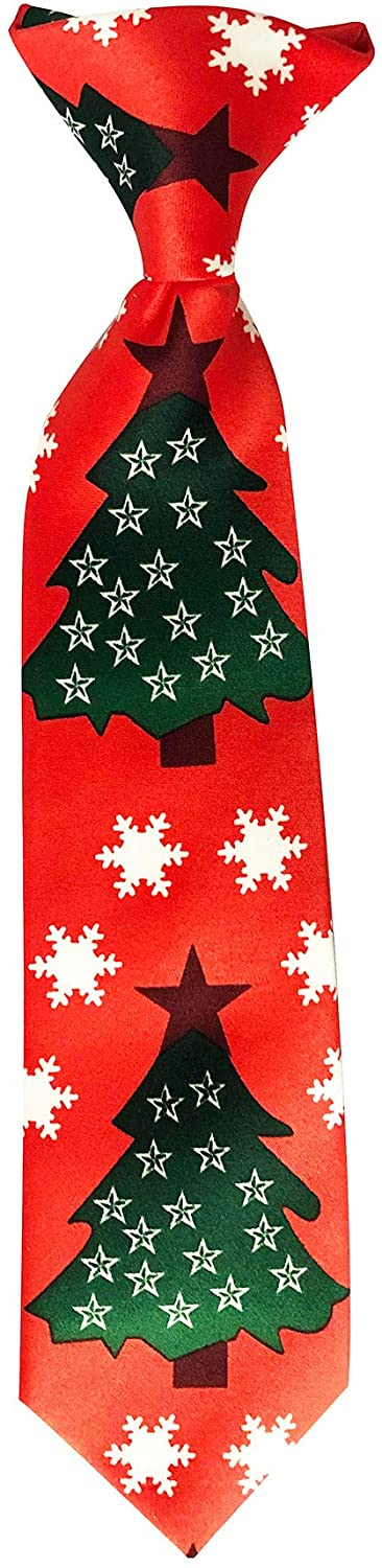 Jacob Alexander Boys' Red Orange Christmas Tree Stars and Snowflakes 11 inch Clip-On Neck Tie