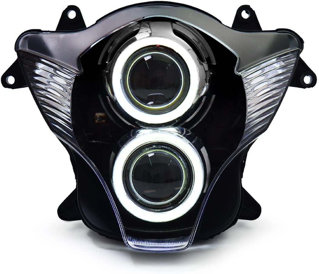 KT Headlight Assembly for Suzuki GSXR750 GSX-R750 2006-2007 White Angel Eye
