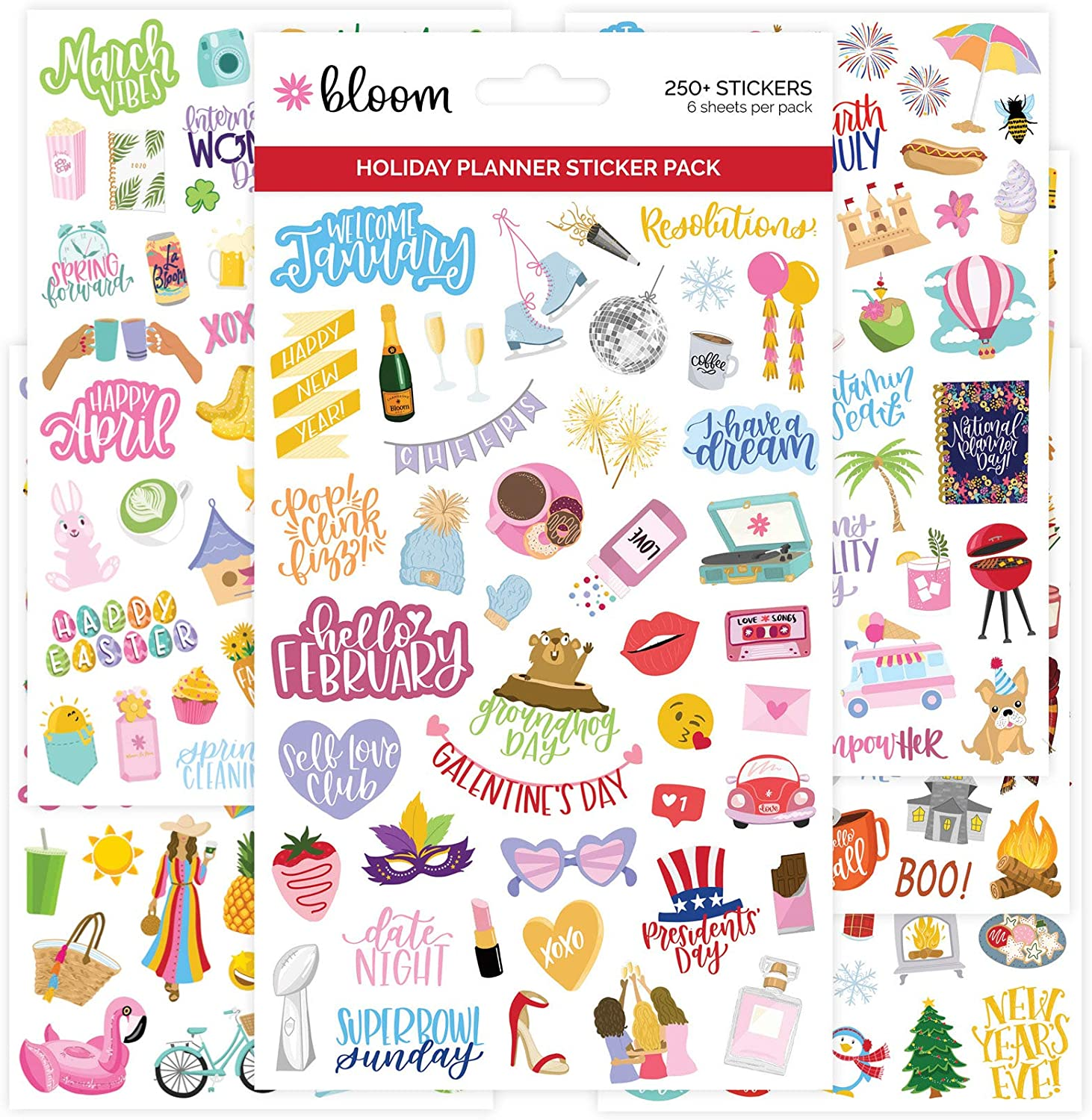 bloom daily planners New Holiday Seasonal Planner Sticker Sheets - Seasonal Sticker Pack - Over 250 Stickers Per Pack!
