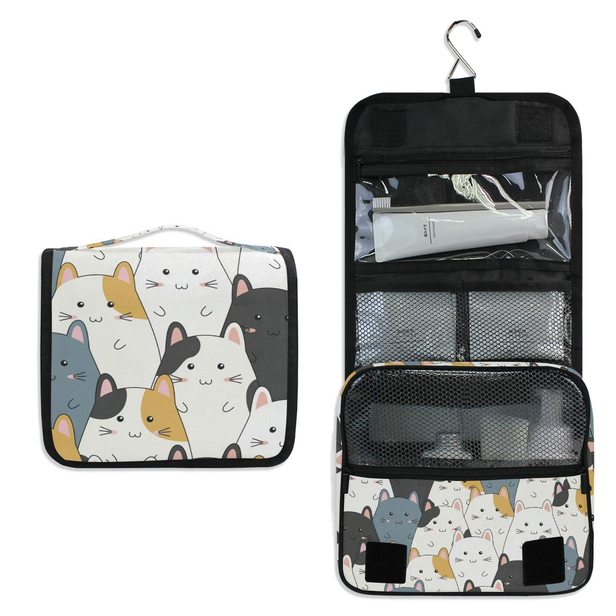 Hanging Travel Toiletry Bag - Cute Cat Waterproof Cosmetic Bag Portable Makeup Pouch for Toiletries Bathroom