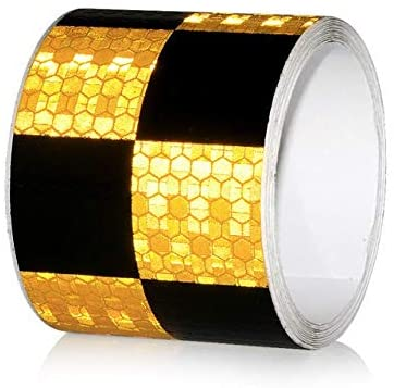 HHF Car Stickers 5cmx5m Car-Styling Safety Mark Reflective Tape Stickers Self Adhesive Warning Tape Automobiles Motorcycle Bike Reflective Film (Color Name : Black Yellow)