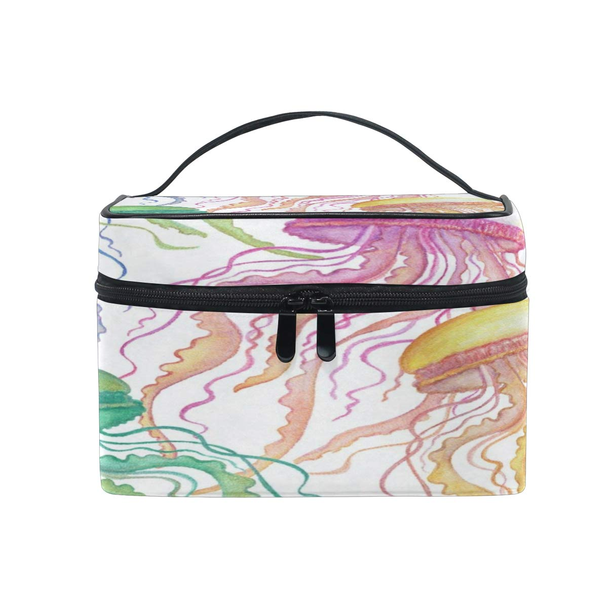 Cosmetic Bag Jellyfish Colorful Makeup Bag Travel Toiletry Bag Cosmetic Train Case Make-Up Tote Organizer Box Storage With Mesh Bag Brush Holder for Women Kids Girls Men