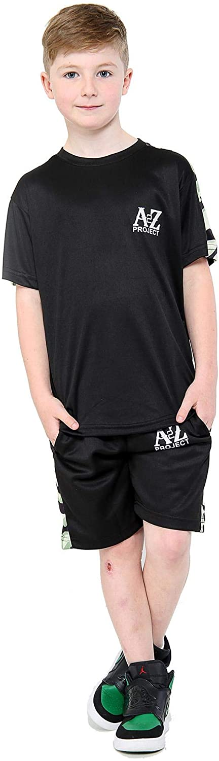 A2Z Kids Boys T Shirt Shorts Project Camo Panelled Top Summer Short Set 5-13 Yr