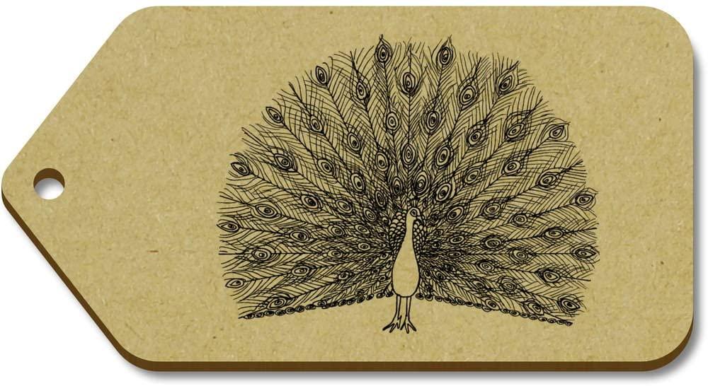 Azeeda 10 x Large 'Peacock' Wooden Gift Tags (TG00014900)