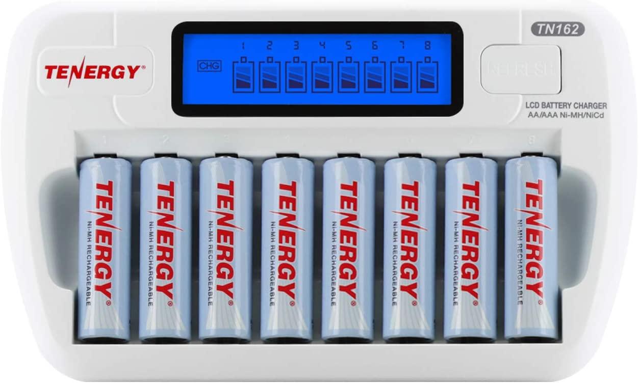 Combo: Tenergy TN162 8-Bay Smart LCD AA/AAA NiMH/NiCd Charger + 8 AA NiMH Rechargeable Batteries