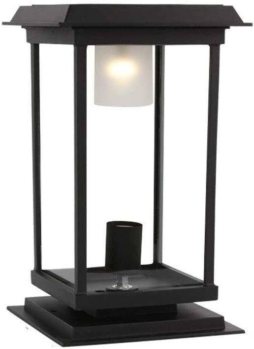 Solar Energy & Mains Dual Use Pillar Light Energy Saving LED E27 Glass Post Lantern Outdoor Waterproof IP55 Landscape Street Lamp for Villa, Swimming Pool, Garden