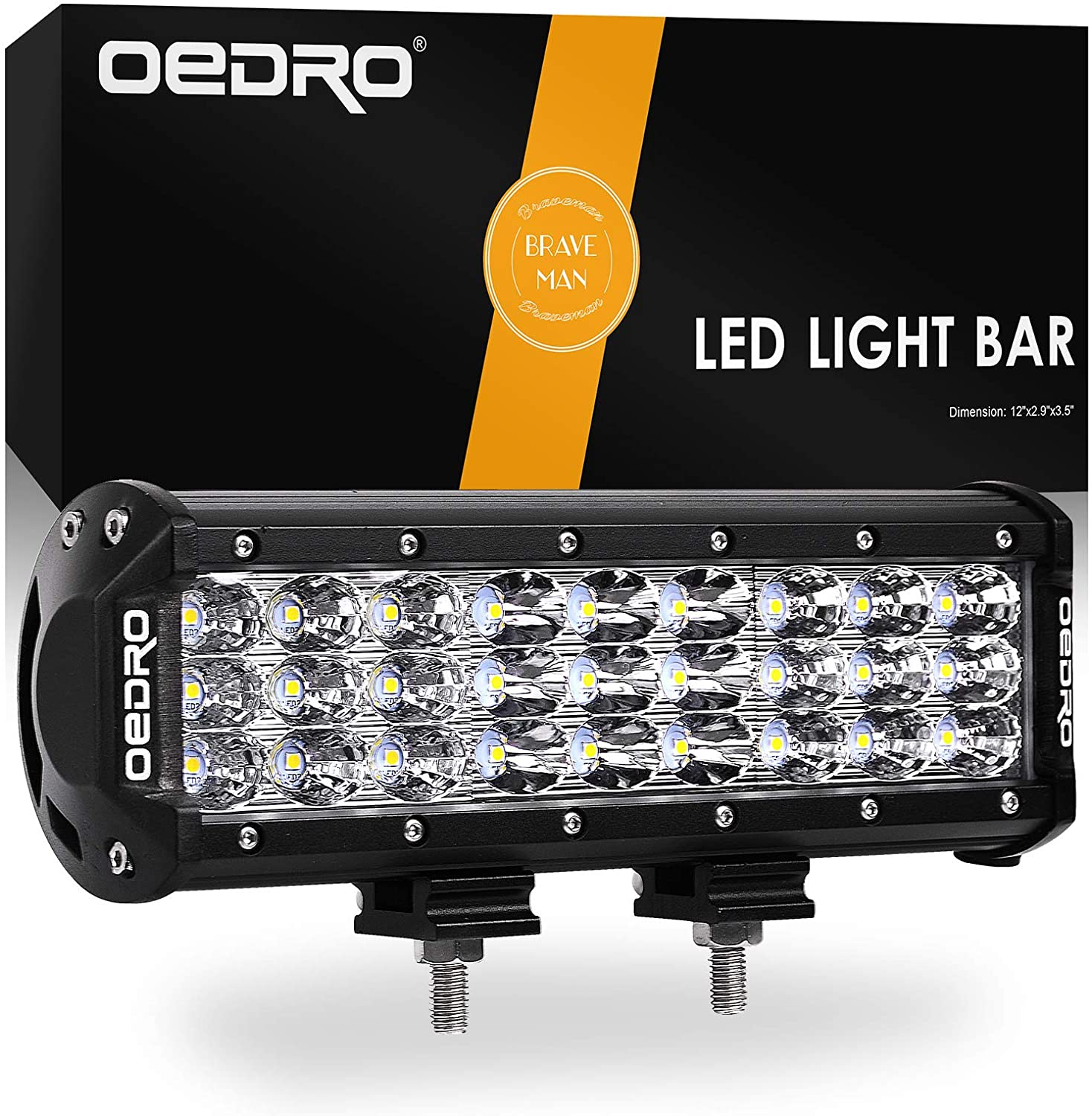 oEdRo LED Light Bar 108W 9 Inch Tri-Rows Work Light Spot Flood Combo Light Off Road Driving Lights Fog Light Waterproof Compatible for Boat Truck Pickup Jeep SUV ATV UTV Motorcycle, 3 Years Warranty