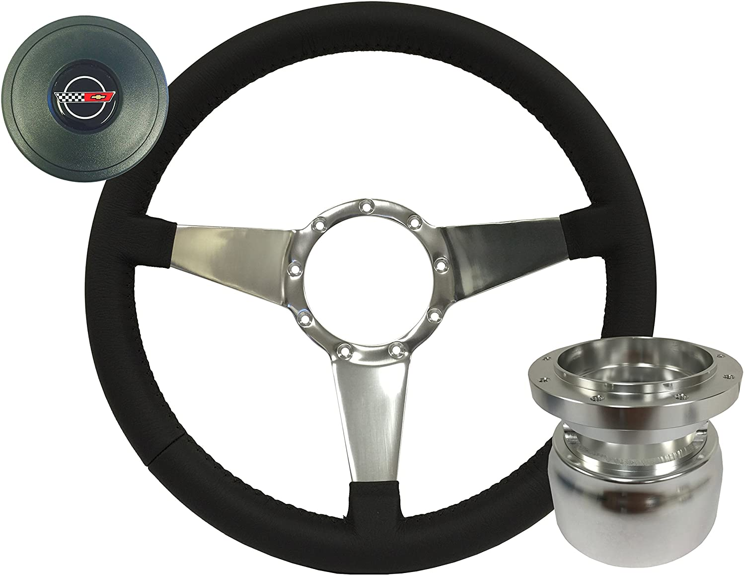 Volante S9 Leather Solid Tri Spoke Steering Wheel Kit compatible with 1984-1989 Chevrolet Corvette