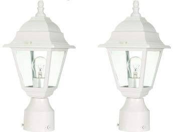 Dysmio Lighting Outdoor Post Lantern in White Finish with Clear Glass - Pack of 2