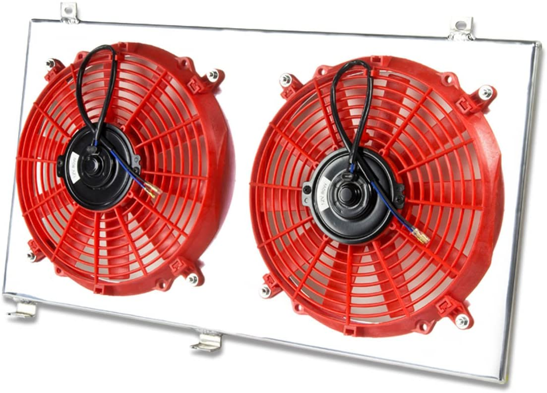 Replacement for Mitsubishi Lancer Evolution 4/5/6 Aluminum Bolt-on Cooling Radiator Fan Shroud (Red) - CN9A CP9A 4G63T