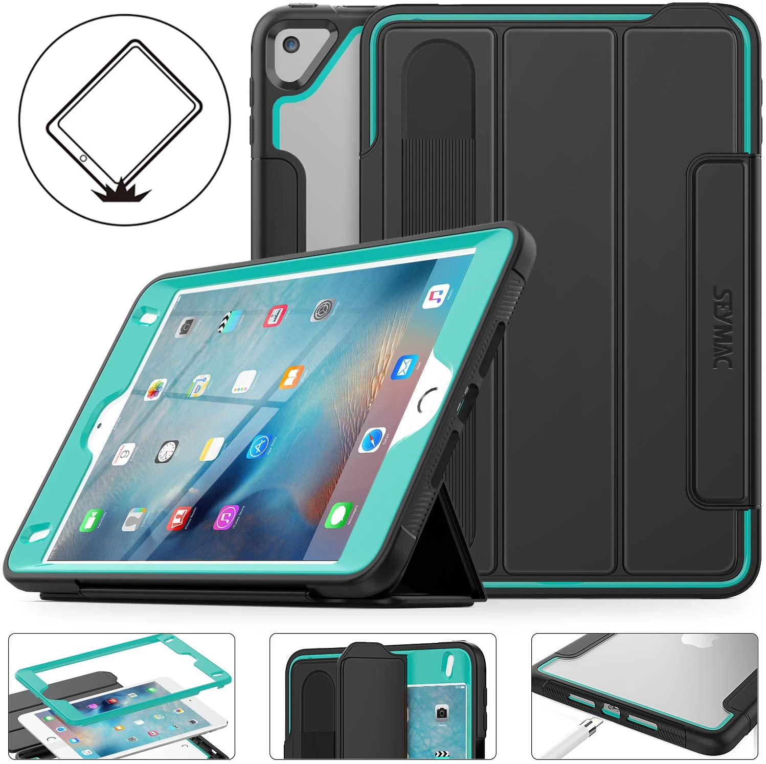 SEYMAC Stock iPad Mini 5/4 7.9 inch Case 2019/2015, Lightweight Drop Poof Smart Cover with [Screen Protector] Stand [Clear Back] [Pencil Holder] Feature for iPad Mini 5th/ 4th Generation (Black/Green)