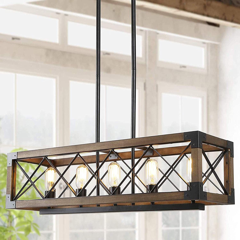 Island Light Fixtures,Rectangular Wood Farmhouse Chandelier for Dining Rooms, 5-Lights Kitchen Island Lighting