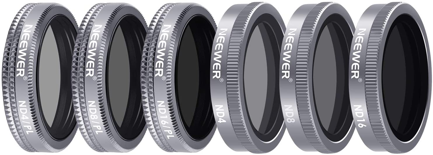 Neewer 6 Pieces Lens Filter Shutter Filter Kit for DJI Mavic 2 Zoom, Includes Multi-Coated ND4 ND8 ND16 ND4/PL ND8/PL ND16/PLFilters with Carrying Box for Outdoor Photography(Grey)