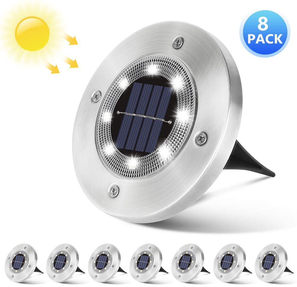 Solar Ground Lights Outdoor- 8 LED Solar Powered Garden Lights, Landscape Lights, Disk Lights for Yard, Driveway, Lawn, Patio, Pathway, Deck, Walkway - 8 Packs