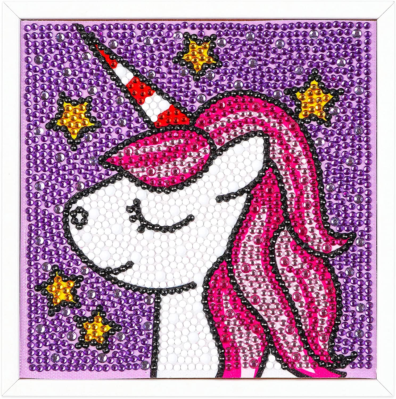 DIY Diamond Painting for Kids, Unicorn Themed Full Drill Diamond Painting by Number Kits, DIY Art Craft Rhinestone Embroidery Mosaic Cross Stitch, Unicorn Canvas with Photo Frame 6x6inch