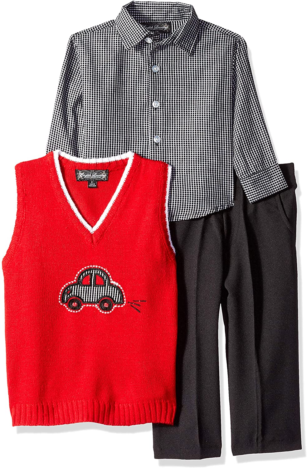 English Laundry Boys' Toddler 3 Piece Sweater Vest, Woven Sport Shirt and Pant