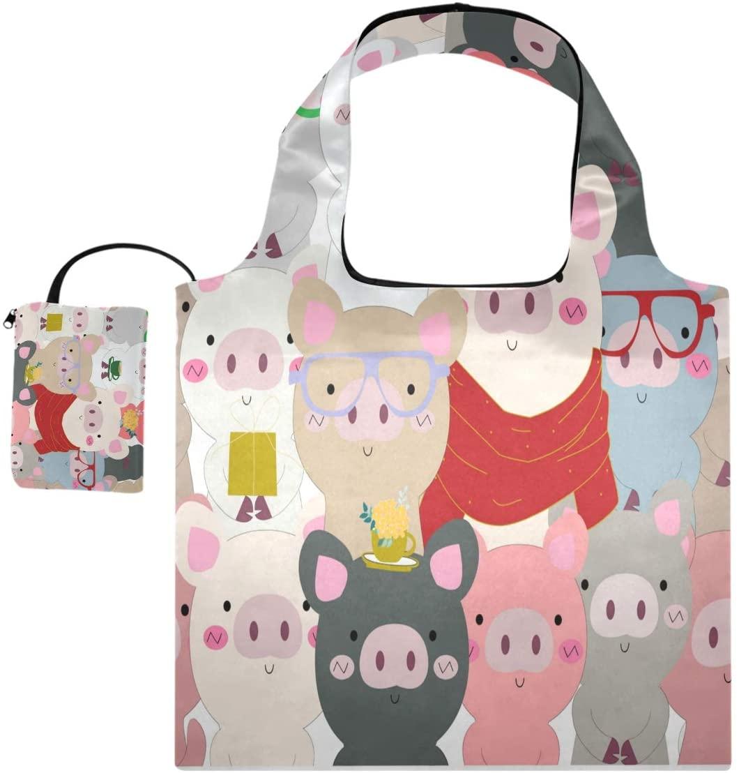 Blueangle Cute Pig Doodle Comic Grocery Shopping Bags - Grocery Shopping Bags with Pouch Bulk - Cloth Grocery Tote Bags - Reusable Shopping Grocery Bags