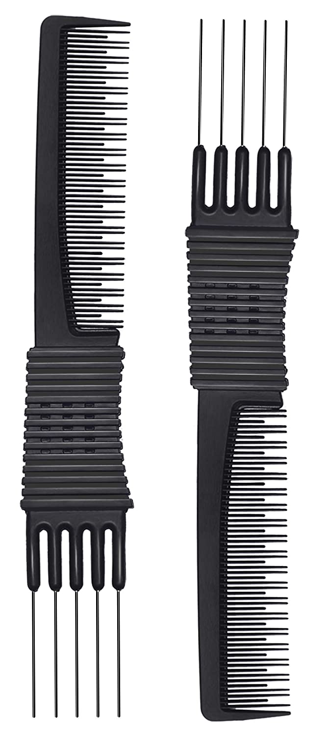 2pcs Black Carbon Lift Teasing Combs with Metal Prong, Salon Teasing Lifting Fluffing Comb with 5 Stainless Steel Pins