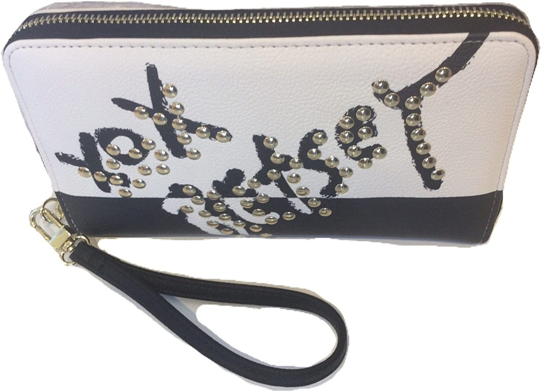 Betsey Johnson Zip Around Wristlet/Wallet,t, Black/Cream