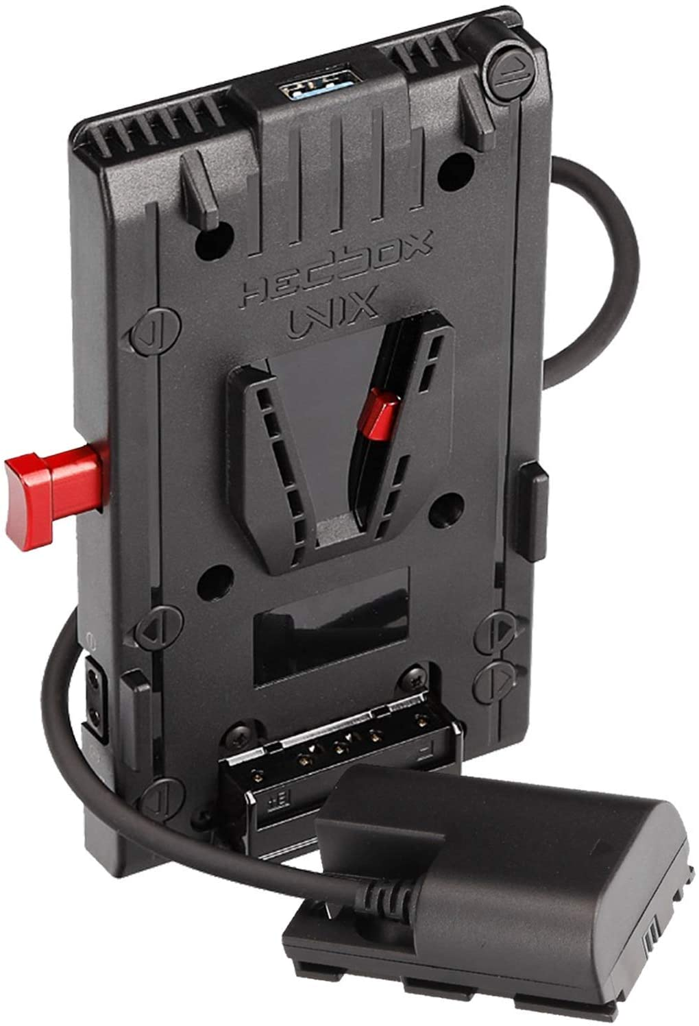 HEDBOX | Unix-LPE6 | V Mount V-Lock Battery Adapter Plate, with 1x USB 5V/2.1A and 3X D-Tap 14.8V/148W Power Out, for Canon EOS 5D/6D/7D/60D/70D/80D DSLR Cameras, via LP-E6 housing