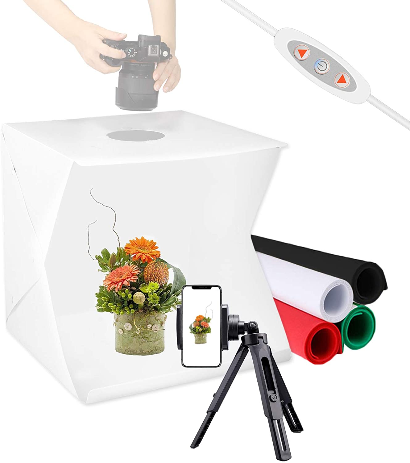Meking 16x16inch Photo Light Box Photography Portable Studio Tent Lighting Kit for Photo Booth Product Shooting, with Phone Tripod, 4 Color Backdrops and Adjustable Brightness