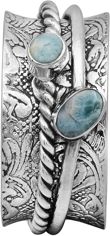Spinner Ring !! 925 Sterling Silver Larimar Gemstone Meditation Ring, Anxiety Ring, Fidget Ring, Anti Stress Ring, Worry Band