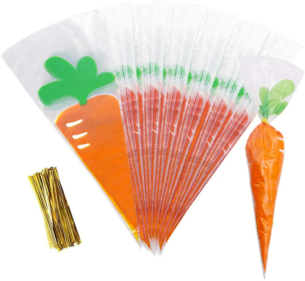 HANSGO Carrot Bag, 100PCS Easter Candy Bags Jelly Bean Candy Bag Cellophane Cone Bags Cookies Bags with Twist Ties