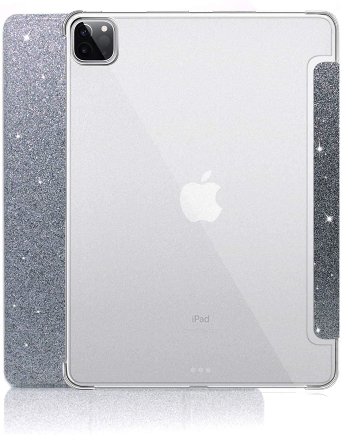 New iPad Pro 11 2020 Glitter Case, Sparkle Leather Ultra Thin Magnetic Leather Smart Protective Cover [Trifold Stand,Sleep Function] for Apple iPad Pro 11 inch 2020(2nd Gen), Glitter-Grey