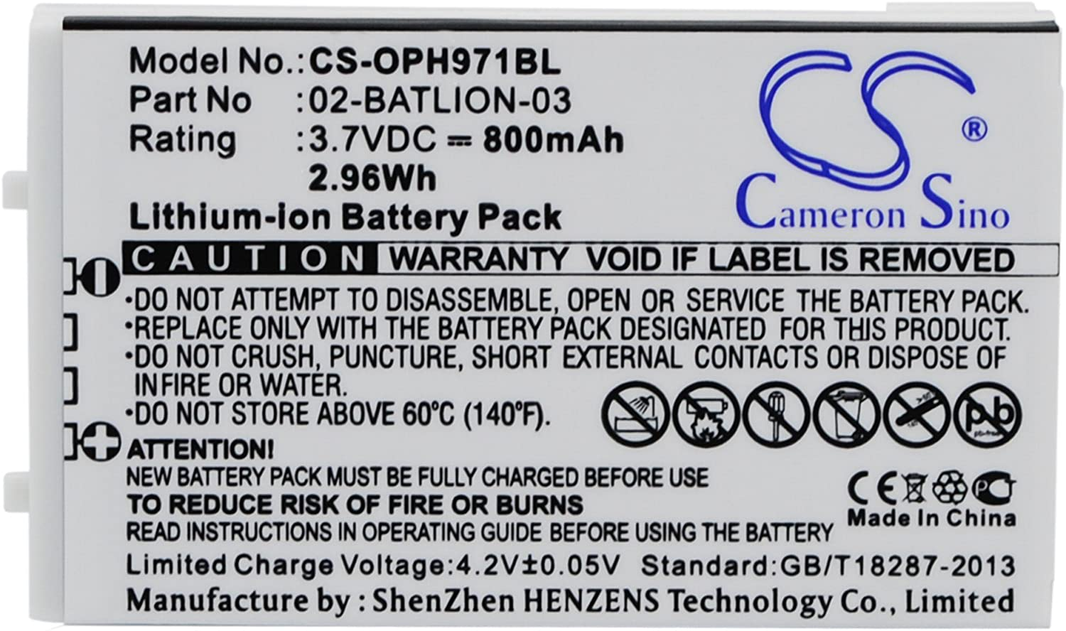Battery Pack 11267 Replacement for Opticon OPL-9728 800mAh