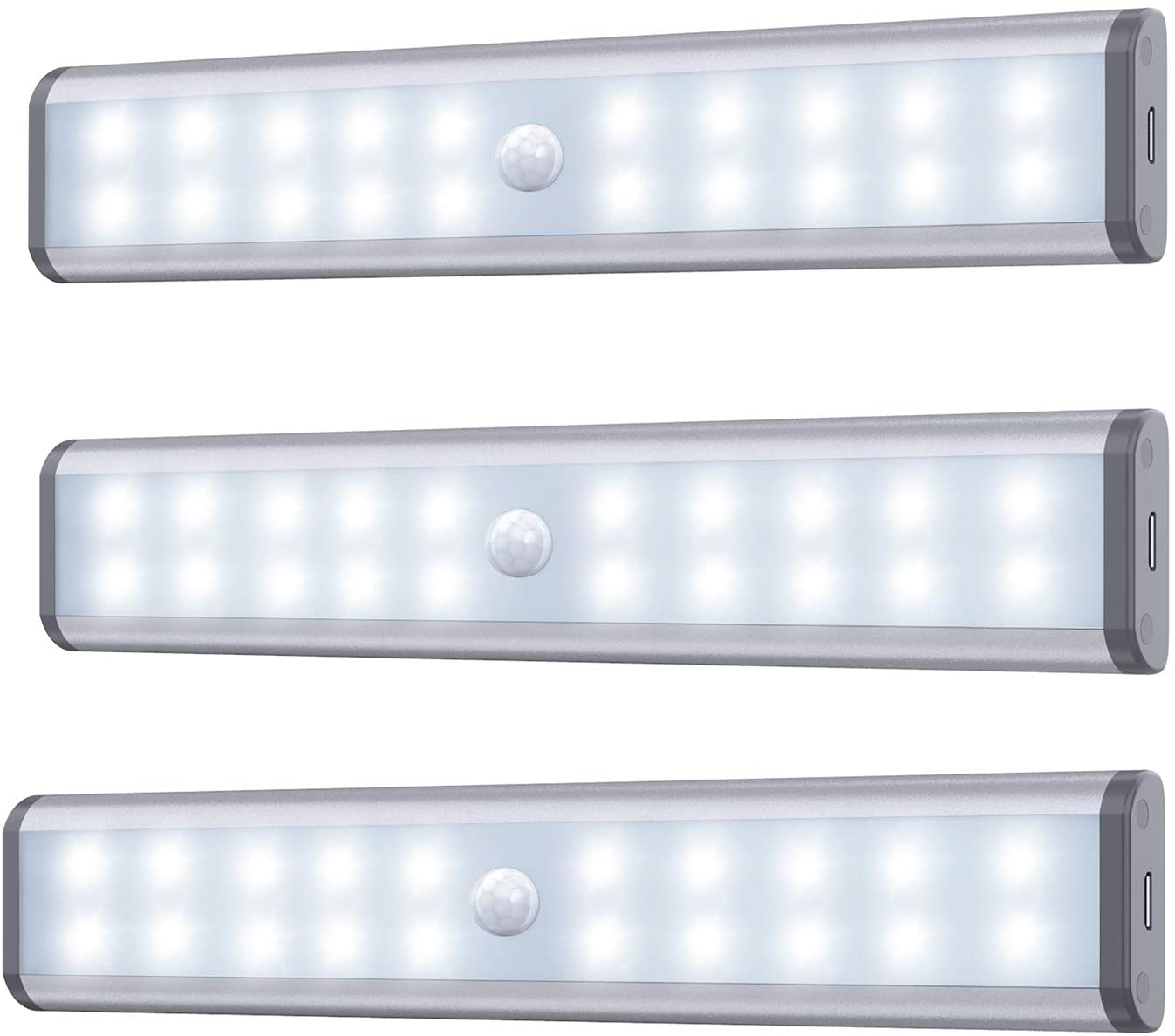 20LED Closet Light with Motion Sensor, Stick-on Anywhere Portable Little Lights Build in Rechargeable Battery Magnetic Tap Lights for Closet, Cabinet