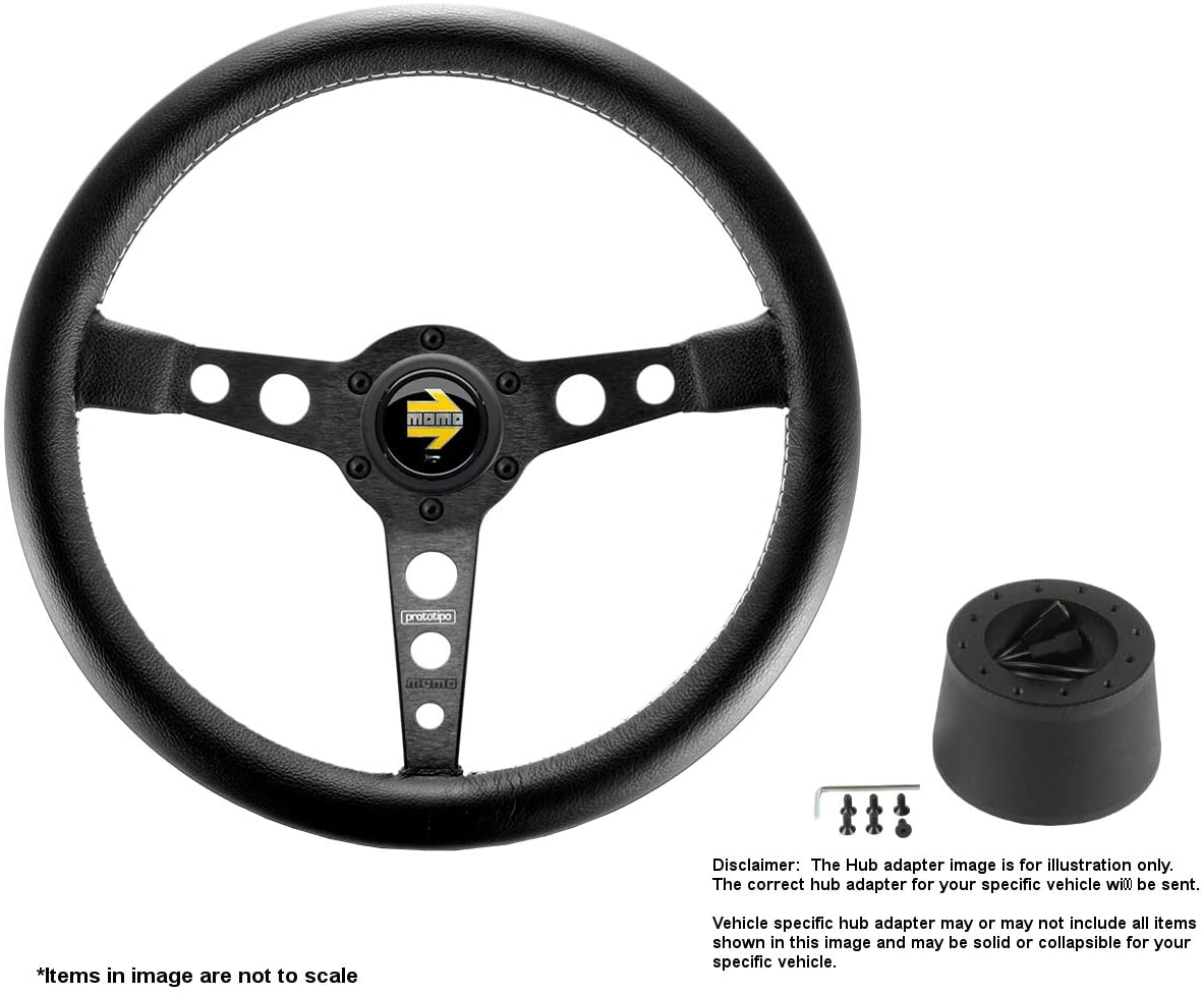 MOMO Prototipo Black 350mm (13.78 Inches) Leather Steering Wheel w/Brushed Black Anodized Spokes and Crowder's Hub Adapter for Jaguar XJ6 Part # PRO35BK2B + 5273
