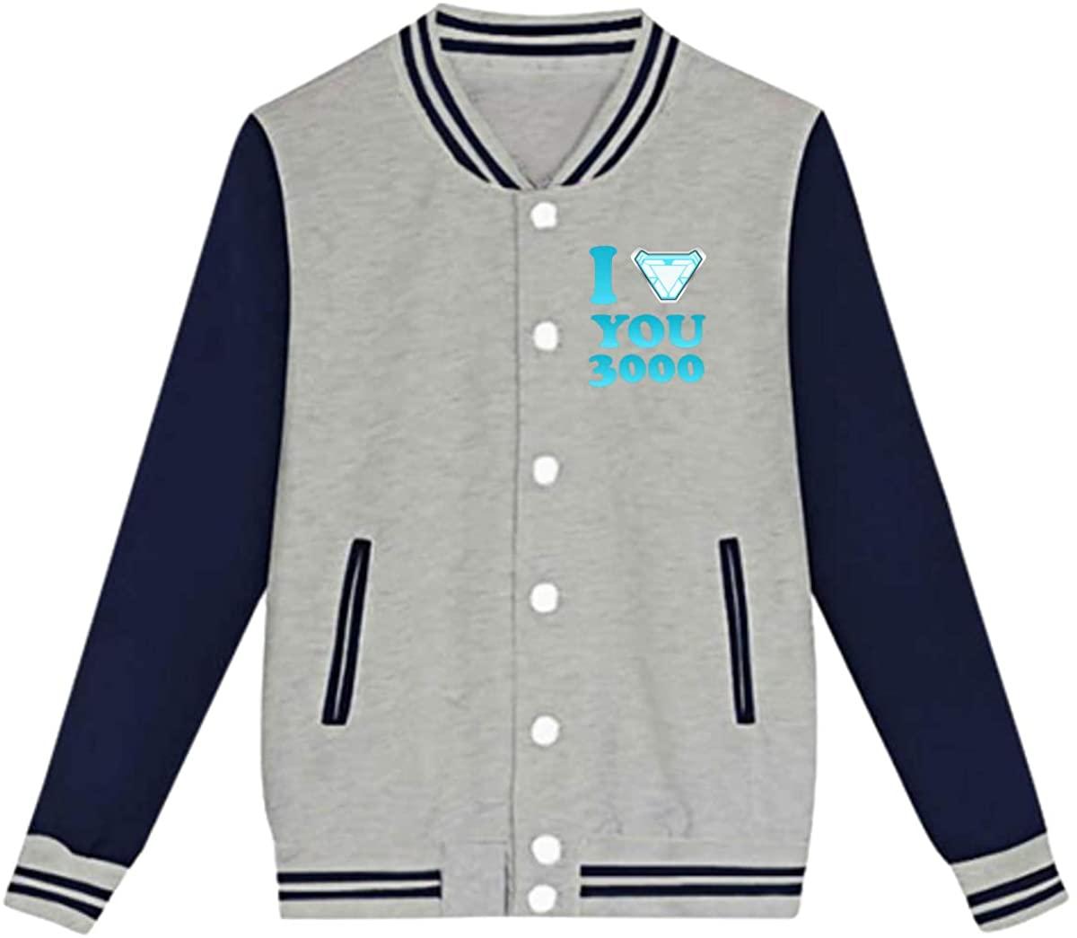 Aeg I Love You 3000 Tony Stark Boy Girl Baseball Uniform Jacket Sport Coat Black