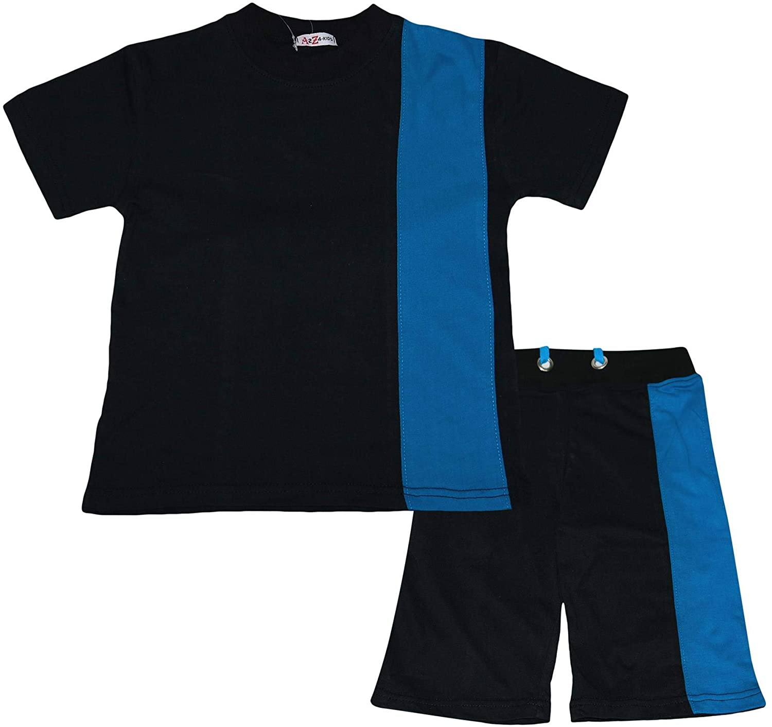 Kids Boys T Shirt Shorts 100% Cotton Contrast Panel Black Top Summer Short Sets