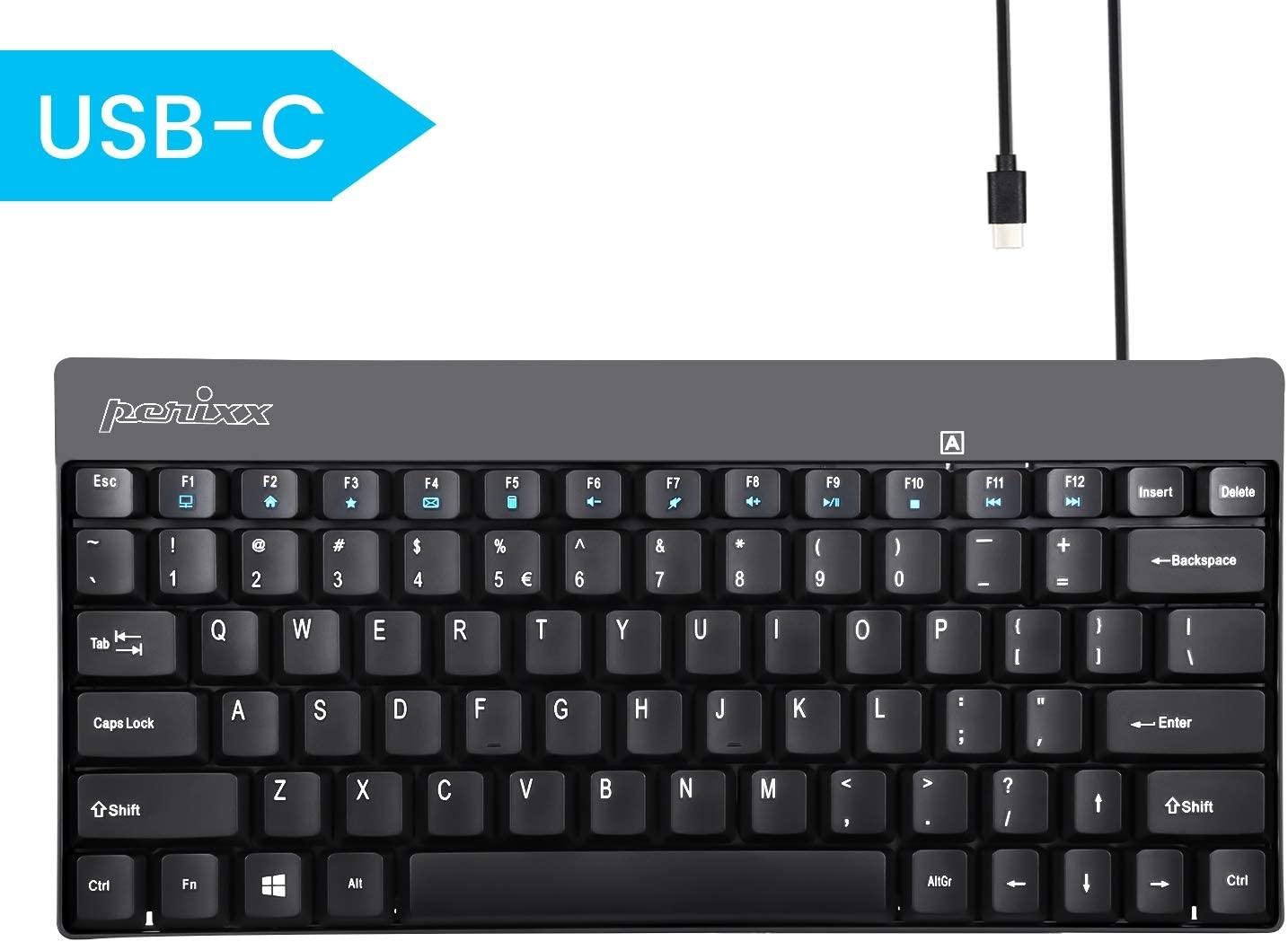 Perixx PERIBOARD-422 Wired USB-C Mini Keyboard, USB Type C Connector, Black