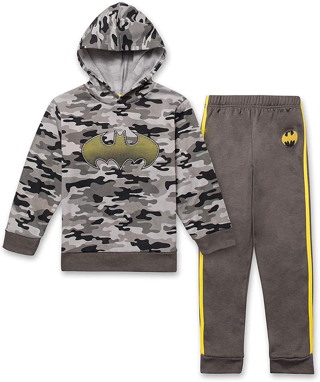 BATMAN Superheroes Little Boys Hoodie Sweatshirt & Sweatpants 2 Piece Camo & Grey Set (Size 7)