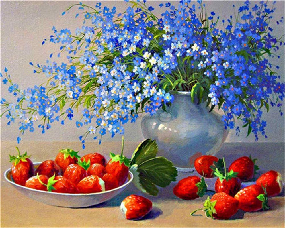 TianMaiGeLun Paint by Number Kits - Blue Flower 16x20 inch Linen Canvas Paintworks Digital Oil Painting Canvas Kits Adults Children Kids Decorations Gifts (No Frame)
