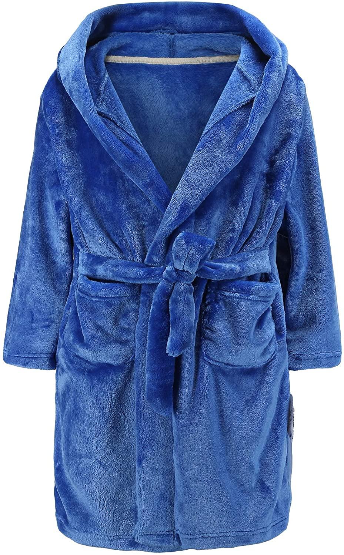 Boys Bathrobes, Toddler Kids Hooded Robes Soft Plush Fleece Pajamas Sleepwear for Boys & Girls