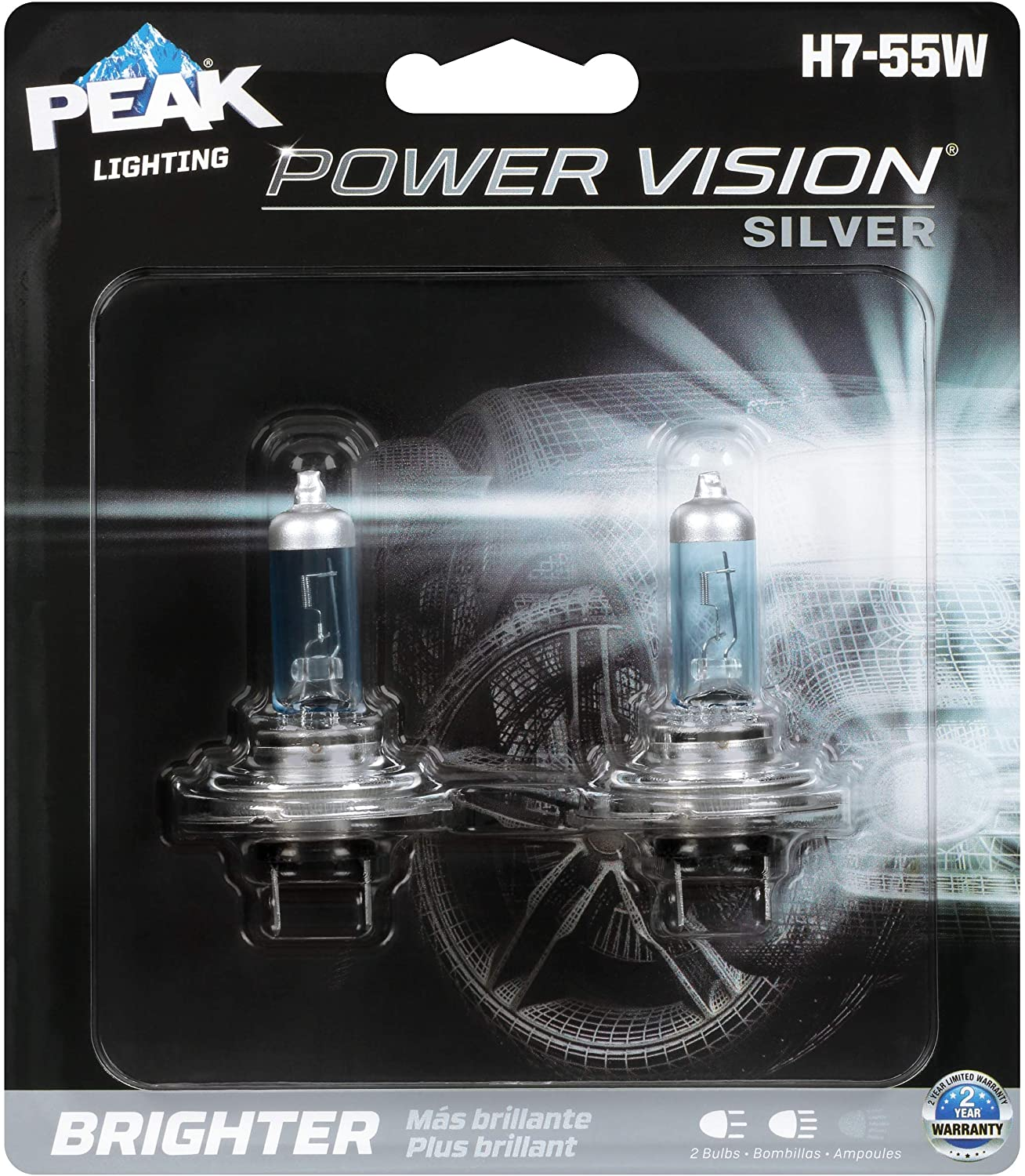 PEAK Power Vision Silver Automotive Performance Headlamp, H7 55W, 2 Pack